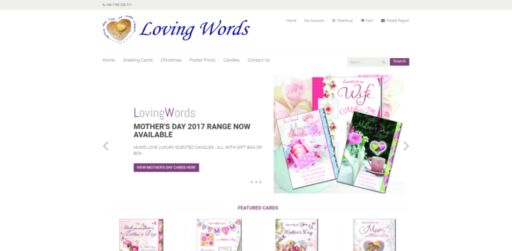 Greetings cards by loving words